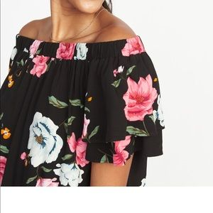 Floral Black Off-Shoulder Ruffles Dress